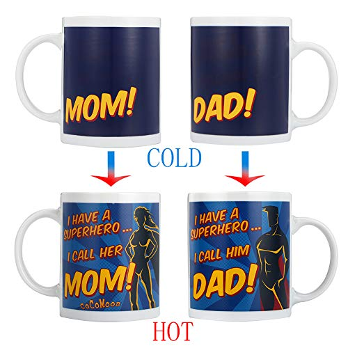 New Dad Coffee Mug 11oz- Funny Ceramic Magic Heat Color Changing/Magic Coffee & Tea Cool Heat Changing Sensitive Cup 11 oz,Drinkware Ceramic Mugs Morning Birthday Christ (DAD+MOM) Ceramic Mug New Coffee Cup