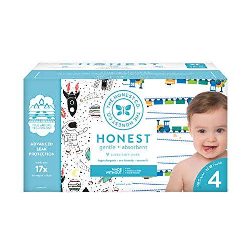 The Honest Company Super Club Box Diapers with TrueAbsorb Technology, Space Travel & Trains, Size 4, 120 Count - Large Diaper