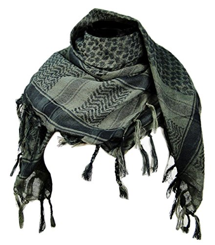 - Premium Shemagh Head Neck Scarf - Green Tint/Charcoal