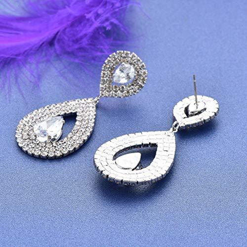 Drop Dangle Earrings for Women,OENEW Elegant Austrian Crystal Rhinestone Teardrop 925 Silver Needle Dangle Earrings