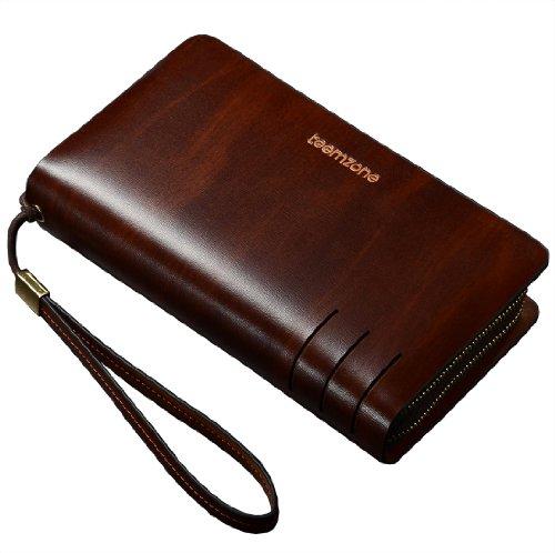 Teemzone Mens Genuine Leather Clutch Bag Handbag Organizer Checkbook Wallet Card Case (with Wrist & Coin Pocket)