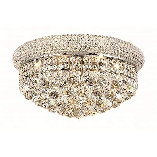 Elegant Lighting 1800F16C/RC Primo Collection 8-Light Flush Mount Royal Cut Crystals with Chrome Finish ()