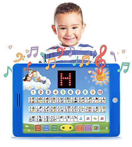 """Boxiki kids Spanish-English Tablet Bilingual Educational Toy with LCD Screen Display by Touch-and-Teach Pad for Kids Learning Spanish and English. ABC Games, Spelling, """"Where Is?"""" Games, Fun Melodies -"""