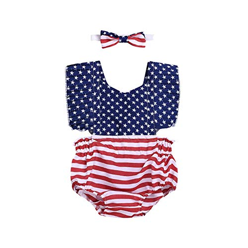 (July 4th Summer Toddler Infant Baby Girl Star Stripe Bodysuit Flag Romper Clothes Sleeveless Halter Romper Bow Clothes)
