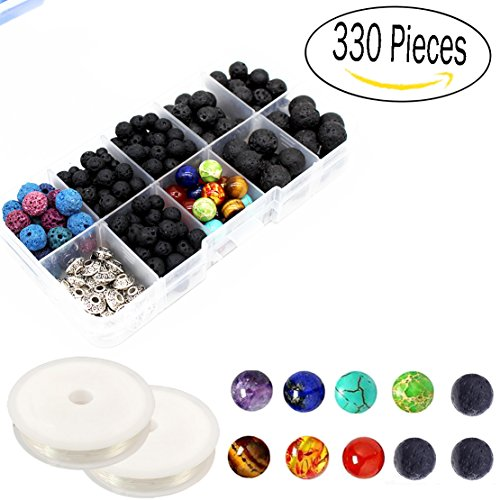 330 Pcs Lava Beads Kit,Lava Black Rock Volcanic Stone Beads for Essential Oils with Assorted Natural 8mm Chakra Beads for Jewelry (Bead Kit)
