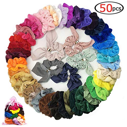 50 Pcs Girls Scrunchies for Hair,45 Solid Colors Hair Scrunchies Velvet Elastics Bobbles Hair Bands Scrunchy and 5 Pack Hair Bow Chiffon Ponytail Holder Elastic Hair Bands