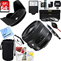 Sigma (301306) 30mm F1.4 ART DC HSM ART Lens for Nikon DSLR Cameras + 64GB Ultimate Filter & Flash Photography Bundle