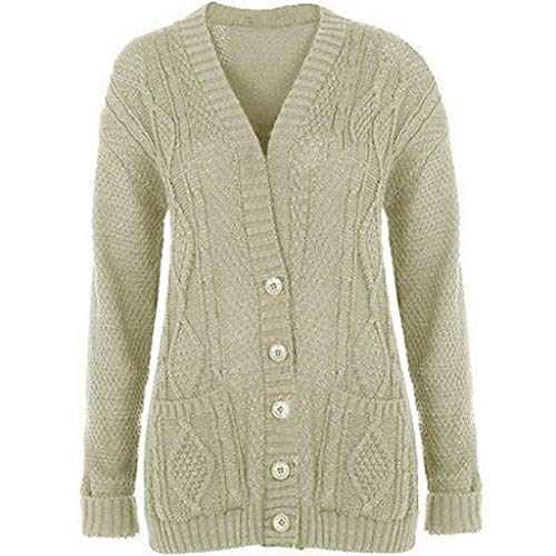 Purple Hanger Women's Long Sleeve Cable Knit Chunky Cardigan Stone 12-14 ()