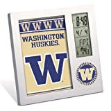 WinCraft NCAA University of Washington Desk Clock, Black