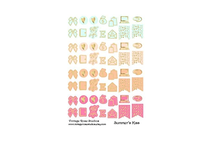Amazon.com: 10 Sheets of Foiled Icons Planner Stickers in ...