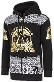 Mens Hip Hop Money Graphic Zip-Up W/Gold Foil Details Black Hoodie M