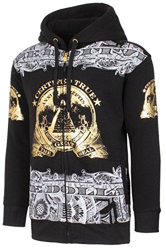 Mens Hip Hop Money Graphic Zip-Up W/Gold Foil Details Black Hoodie (Hip Hop Hoodie)