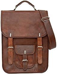 81stgeneration Mens Womens Genuine Large Leather Vertical Messenger Style Backpack Shoulder Bag