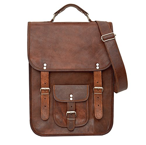 81stgeneration Men's Women's Genuine Large Leather Vertical Messenger Style Backpack Shoulder Bag (Brown Vertical Leather)