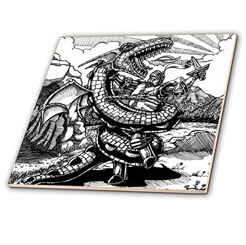 3dRose Travis Eck - Art - Saint George Fights the Dragon - Story from Legend - 8 Inch Ceramic Tile (ct_317500_3)