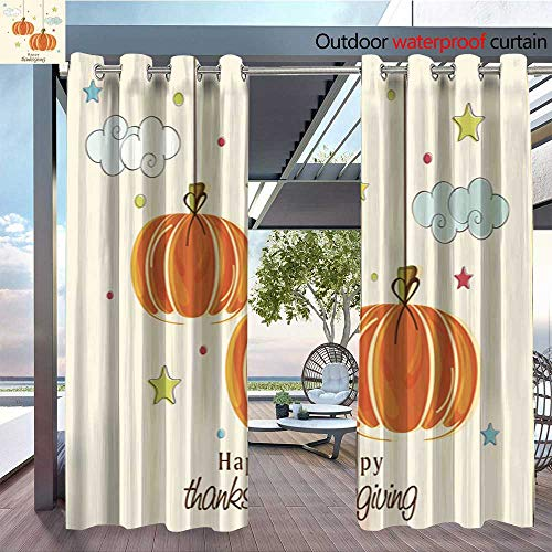 Outdoor Hanging Estrella (BlountDecor Fashions Drape Thanksgiving Day Celebration with Hanging Pumpkin Outdoor Curtain Waterproof Rustproof Grommet Drape W96 x L108/Pair)