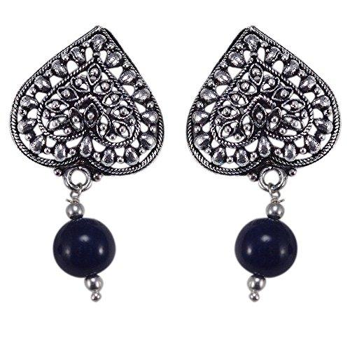 silvesto Inde Quartz Bleu perles plaqué argent 925Boucles d'oreilles Sz 34mm PG 22652
