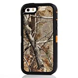 Chanroy- iPhone 5S/SE Heavy Duty Shockproof Dirtproof Defender Case Cover with Built-in Screen Protector (Orange Tree)