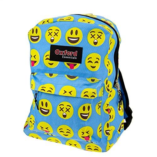 "Kids Oxford Essentials Emoji 15"" Backpack Emoticon Faces Bag For School - For Girls Camping Essentials"