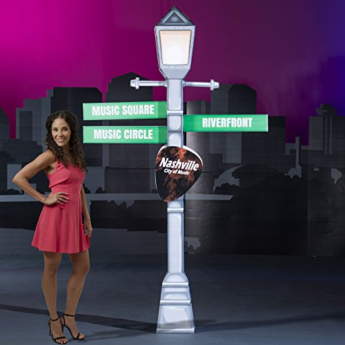 7 ft. 8 in. Nashville Nights Live Street Light Lamp Post Sign Standup Photo Booth Prop Background Backdrop Party Decoration Decor Scene Setter Cardboard Cutout]()