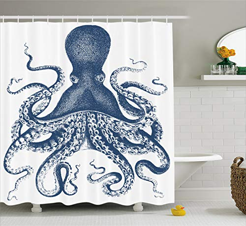 Ambesonne Kraken Shower Curtain Octopus Decor by for Baby, Sea Creatures Sea Life Nautical Blue, Polyester Fabric Bathroom Set with Hooks, 69 x 70 Inches Long, White Blue -