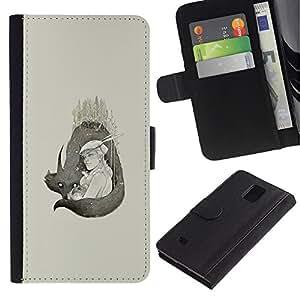 KLONGSHOP // Tirón de la caja Cartera de cuero con ranuras para tarjetas - Lobo Pareja - Samsung Galaxy Note 4 IV //