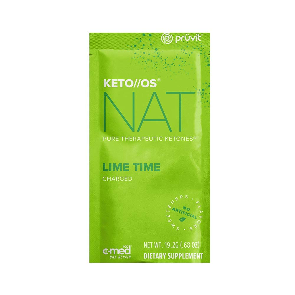 Pruvit Keto//OS NAT CHARGED, BHB Salts Ketogenic Supplement - Beta Hydroxybutyrates Exogenous Ketones for Fat Loss, Workout Energy Boost Through Fast Ketosis. 20 Sachets (Lime Time)