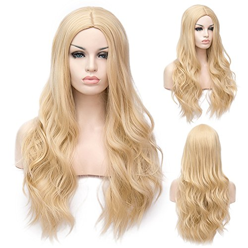 Winshope Blonde Long Wig Wavy Curly Hair For Girls Women Costume Wigs Cosplay Party Heat Resistant Nature As -