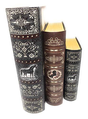 Punch Studio Set of 3 Large Nesting Decorative Book Boxes ~ Horse 60575-60574-60573
