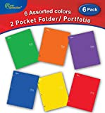 New Generation - One - 2 Pocket Folder/Portfolio, 6 Pack,Letter Size, 3 Hole Punch folders, Heavy Duty UV Glossy Laminated - Assorted 6 Fashion Primary Color Folders, Back to School (6 Pack)