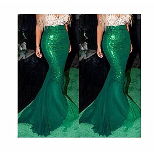 FEESHOW Women's Mermaid Tail Halloween Costumes Party Shiny Sequins Long Skirt