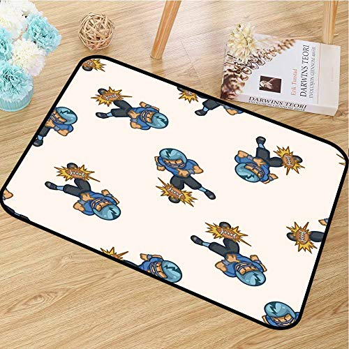 RelaxBear Football Inlet Outdoor Door mat Kids Boys Cartoon Competitive Player Hitting The Ball Quarterback Touchdown Catch dust Snow and mud W19.7 x L31.5 Inch Blue Black Brown