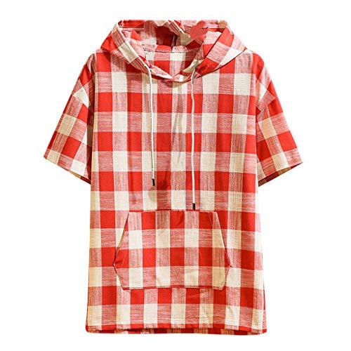 Men's Shirt Top Hooded Plaid Pocket Short Sleeve Handsome Red