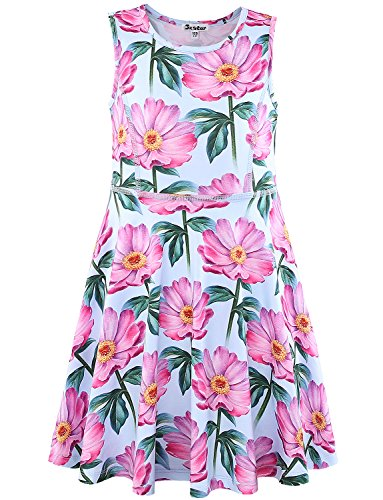 Jxstar Flower Girl Dress Summer Kid Floral Navy Cute Party Teens Casual American Flower
