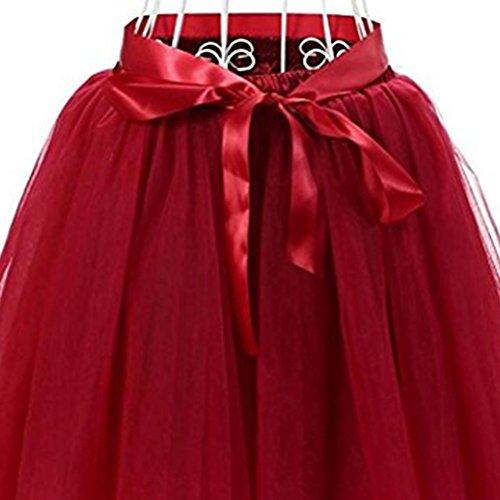 50 Fonc Varies Style Deux Ballet Courte Tutu Tulle en Boucles Rouge Annes Jupe Jupe avec Femmes Oudan N pour Couleurs Filles ud C10qzw