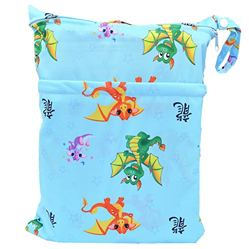 Wet Dry Bag Baby Cloth Diaper Nappy Bag Reusable with Two Zippered Pockets