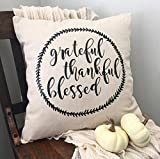 neutral living room Pillow Cover Grateful/Thankful/Blessed Pillow Case/Neutral/Farmhouse/Throw Pillow/Accent/Living Room/Bedroom/Magnolia/18x18