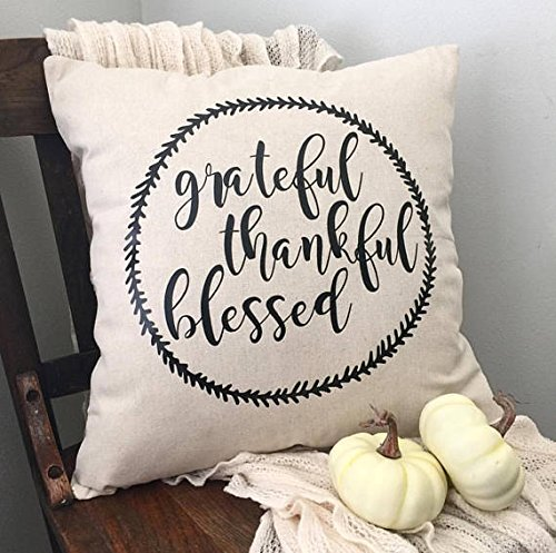 Pillow Cover Grateful/Thankful/Blessed Pillow Case/Neutral/Farmhouse/Throw Pillow/Accent/Living Room/Bedroom/Magnolia/18x18