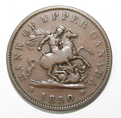 (1850 CA Bank of Upper Canada Penny 1p Fine+)