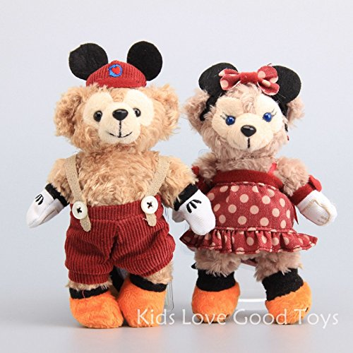 2X Genuine Duffy & ShellieMay Bear Xmas Costume Plush Toy Soft Doll 6'' Keychain ()