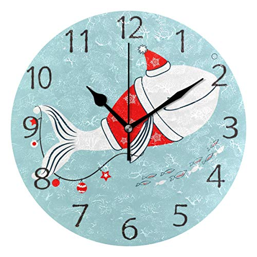 senya Wall Clock Silent 9.5 Inch Battery Operated Non Ticking Whale Costume Santa Claus Garland Decoration Round Decorative Acrylic Quiet Clocks for Bedroom Office School Home -