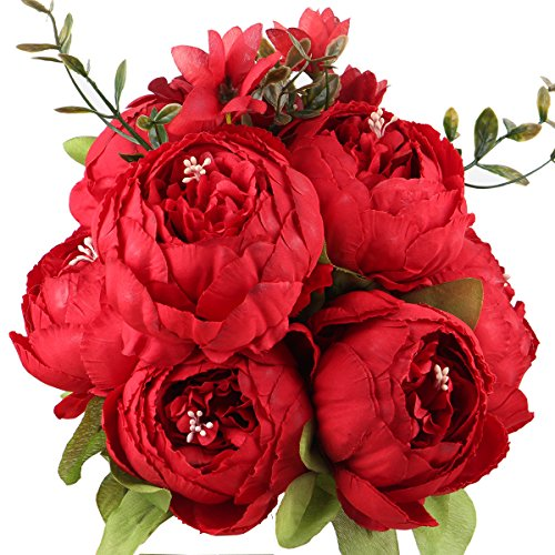 Leagel Fake Flowers Vintage Artificial Peony Silk Flowers Bouquet Wedding Home Decoration, Pack of 1 (Spring Red)
