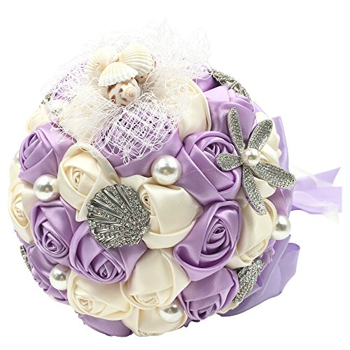 Abbie Home Beach Wedding Bridal Bouquet Holding Tossing Flower with Pearl Seashell and Rhinestone Decoration
