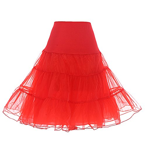 Dresstells Women's Vintage Rockabilly Petticoat Skirt Tutu 1950s Underskirt red XL]()