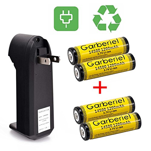 Rechargeable AA Battery, Garberiel 4PC 14500 AA Battery 1200 mAh 3.7V Battery Botton Top Rechargeable Battery With Charger