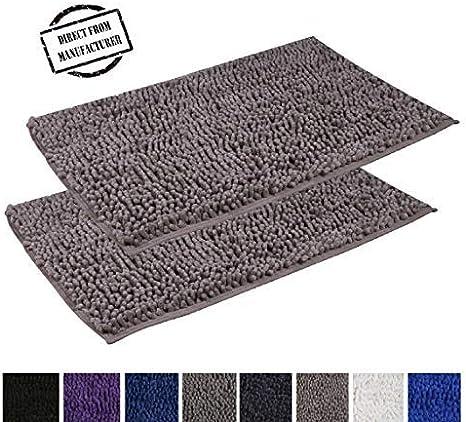 Non Slip Absorbent Machine Washable Bath rugs for Bathroom//Tub//Shower//Floor by Avira Home Microfiber Shaggy 2 Piece Set includes 20x31 inches Bathmats Black Bathroom rugs