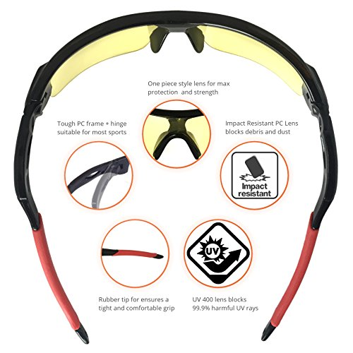 J+S Active PLUS Cycling Outdoor Sports Athlete's Sunglasses, 100% UV protection (Black Frame / Yellow Lens)