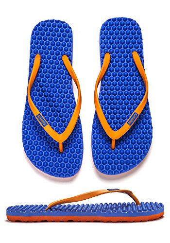 Anti Fit Slim Bumpers Comfort Blue Slipping Eco Sandals Friendly Flip Flops flat for Women Orange and amp; Massage Young q8q0w4PO