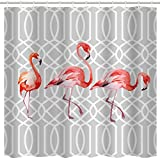 Pink Flamingo Shower Curtain Hooks Grey Flamingo Decor Shower Curtain Fabric,Pink Watercolor Bird Tropical Retro Flamingo 3D Art Printing Bath Shower Curtain,Polyester Waterproof Bathroom Accessories with Hooks,72x72 Inch,Grey,Pink