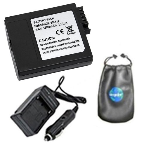 amsahr Digital Replacement Digital Camera and Camcorder Battery PLUS Mini Battery Travel Charger for Canon BP-412, 406, 422, Optura 300, Elura: 20MC - Includes Lens Accessories (Bp 412 Replacement Battery)